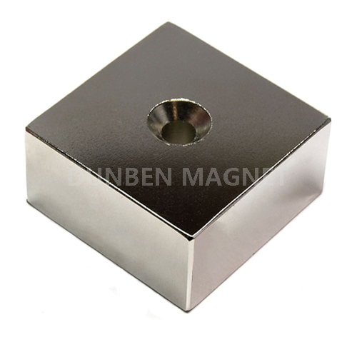N52 Block Rare Earth Neodymium Magnet with countersunk Hole